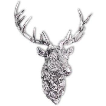 Hertenkop muurdecoratie aluminium zilver