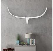 vidaXL Stierenkop voor aan de muur aluminium 125 cm zilverkleurig