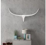 vidaXL Stierenkop voor aan de muur aluminium 100 cm zilverkleurig