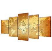 vidaXL Canvasdoeken wereldkaart 100 x 50 cm