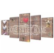 vidaXL Canvasdoeken home sweet home 100 x 50 cm