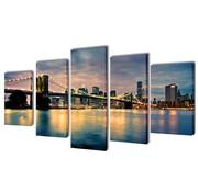 vidaXL Canvasdoeken Brooklyn Bridge uitzicht over river 100 x 50 cm