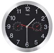 vidaXL Wandklok met quartz-mechanisme hygrometer thermometer 30 cm zwart
