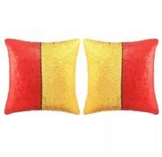vidaXL Sierkussenset met pailletten 60x60 cm rood en goud 2-delig