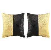 vidaXL Sierkussenset met pailletten 60x60 cm zwart en goud 2-delig