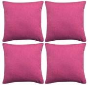 vidaXL Kussenhoezen 4 stuks linnen look roze 50x50 cm