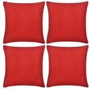 vidaXL Kussenhoezen katoen 80 x 80 cm rood 4 stuks