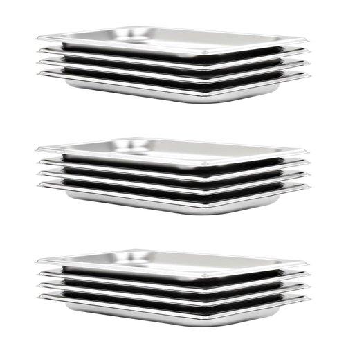 vidaXL Schalen 12 st GN 1/3 20 mm roestvrij staal