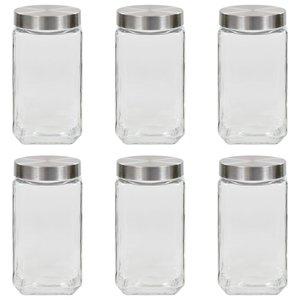 vidaXL Opbergpotten met zilverkleurig deksel 6 st 2100 ml