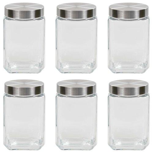 vidaXL Opbergpotten met zilverkleurig deksel 6 st 1700 ml