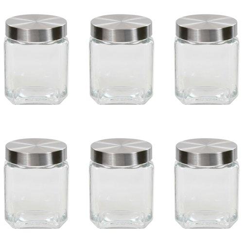 vidaXL Opbergpotten met zilverkleurig deksel 6 st 1.200 ml