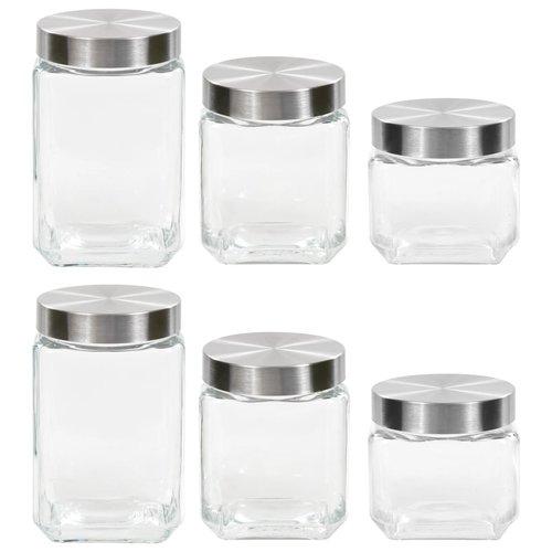 vidaXL Opbergpotten met zilverkleurig deksel 6 st 800/1200/1700 ml