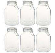 vidaXL Potten met sluiting 6 st 3 L glas