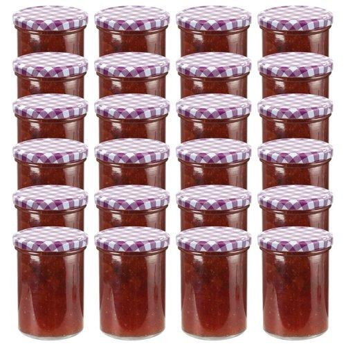 vidaXL Jampotten met wit met paarse deksels 24 st 400 ml glas
