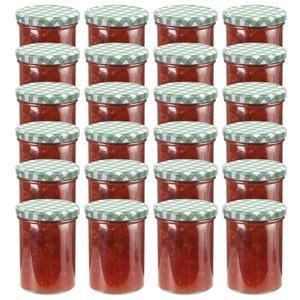 vidaXL Jampotten met wit met groene deksels 24 st 400 ml glas
