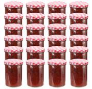 vidaXL Jampotten met wit met rode deksels 24 st 400 ml glas