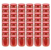 vidaXL Jampotten met rode deksels 48 st 230 ml glas