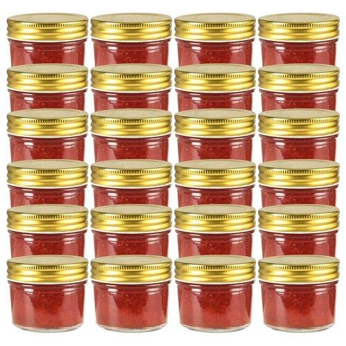 vidaXL Jampotten met goudkleurige deksels 24 st 110 ml glas
