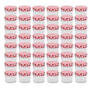 vidaXL Jampotten met wit met rode deksels 48 st 110 ml glas