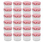 vidaXL Jampotten met wit met rode deksels 24 st 110 ml glas