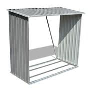vidaXL Houtschuur gegalvaniseerd staal grijs
