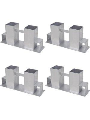 vidaXL Brandhout stapel ondersteuner 4 stuks staal zilver