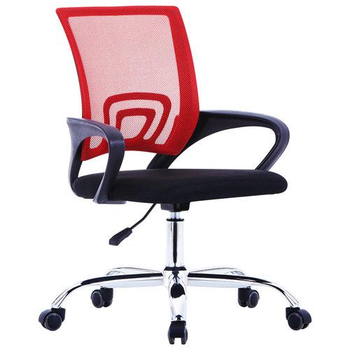 vidaXL Kantoorstoel met mesh rugleuning stof rood