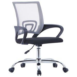 vidaXL Kantoorstoel met mesh rugleuning stof grijs