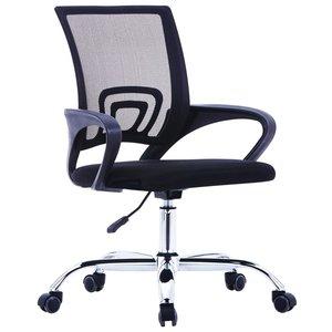 vidaXL Kantoorstoel met mesh rugleuning stof zwart