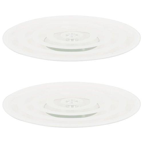 vidaXL Serveerborden draaiend 2 st 30 cm gehard glas transparant