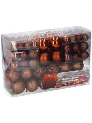 Christmas Gifts Kerstballenset - 100 plastic ballen - bruin