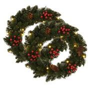 vidaXL Kerstkransen 2 st met decoratie 45 cm groen
