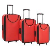 vidaXL Zachte trolleys 3 st oxford stof rood