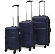 vidaXL Harde kofferset 3-delig blauw