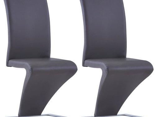 vidaXL Eetkamerstoelen met zigzag-vorm 2 st kunstleer grijs