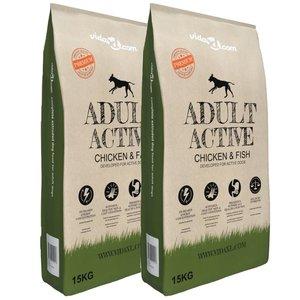 vidaXL Premium hondenvoer droog Adult Active Chicken & Fish 30 kg 2 st
