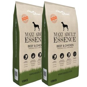 vidaXL Premium hondenvoer Maxi Adult Essence Beef&Chicken 30kg 2 st