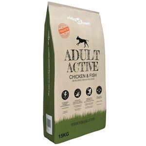 vidaXL Premium hondenvoer droog Adult Active Chicken & Fish 15 kg