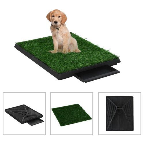 vidaXL Huisdierentoilet met bak en kunstgras 63x50x7 cm groen