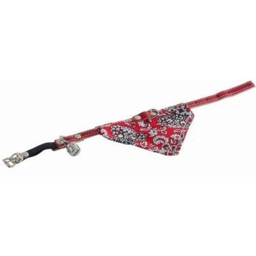 Merkloos Katenhalsband rood+bel+doek rood
