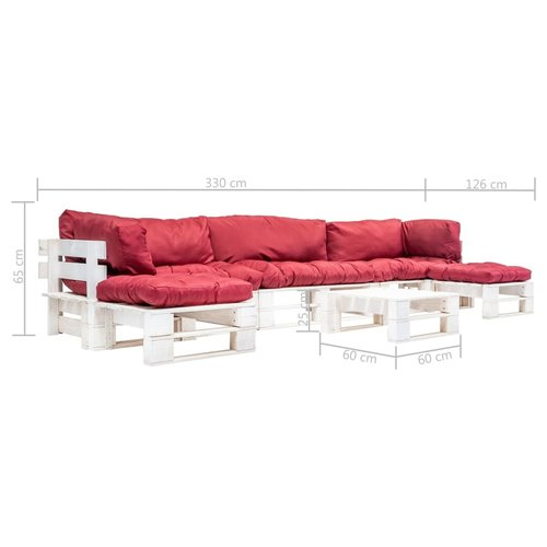 vidaXL 6-delige Loungeset pallet FSC hout wit