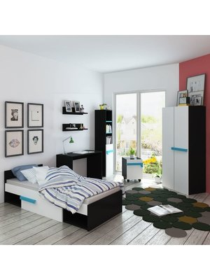Kinderkamer meubelset met matras 8-delig blauw