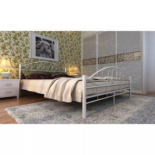 Bed met matras metaal wit 160x200 cm