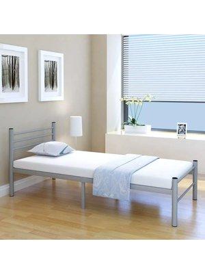 Bed met matras metaal grijs 90x200 cm
