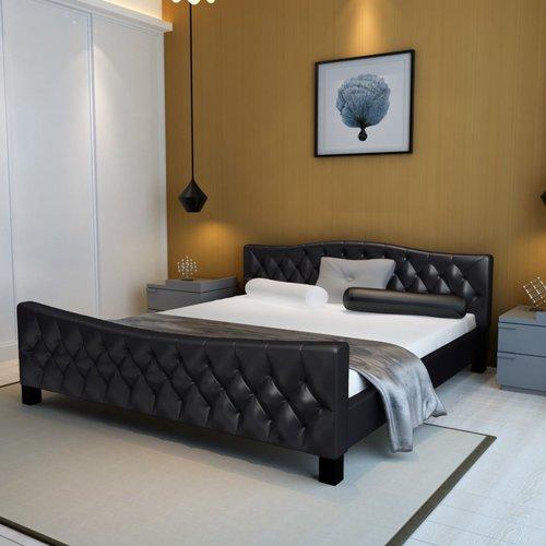 Bed met matras kunstleer zwart 180x200 cm