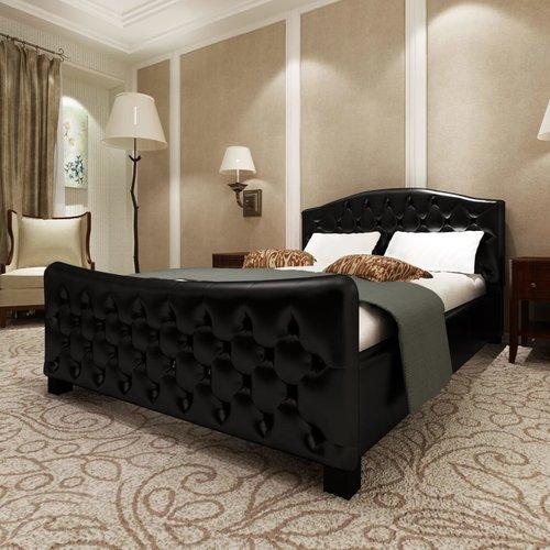 Bed met matras kunstleer zwart 140x200 cm
