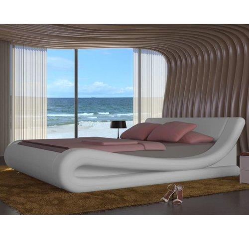 Bed met traagschuim matras kunstleer wit 140x200 cm