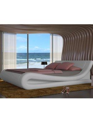 Bed met traagschuim matras kunstleer wit 180x200 cm
