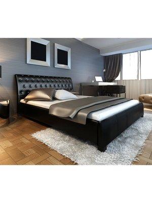 Bed met traagschuim matras kunstleer zwart 140x200 cm