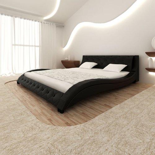Bed met traagschuim matras kunstleer zwart 180x200 cm